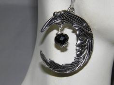 Hand Crafted Pewter Goddess Moon Earrings Aether Void Element with Black Swarovski Crystals by MelancholyMind on Etsy