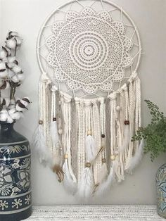 Large Ivory and Neutral Dream Catcher Giant dream catcher, Large Dream Catcher, Ivory wall hanging, Neutral dream catcher, Boho Nursery D Grand Dream Catcher, Dream Catcher Boho, Bohemian Wedding Decorations, Bohemian Decor, Decor Wedding, Doily Dream Catchers, Boho Dekor, Diy Tumblr, Boho Nursery