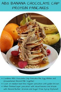 Check out this for Banana Chocolate Chip Banana Chocolate Chip Pancakes, Protein Waffles, Sugar Free Syrup, Tasty Recipe, Unsweetened Almond Milk, Waffle Recipes, Almond Butter, Granola, Abs