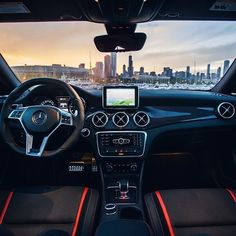 The perfect spot to enjoy the sunset over Chicago's skyline.  #MBPhotoCredit @jeremycliff  #Mercedes #Benz #CLA #CLA45 #AMG #Chicago #Sunset #Instacar #carsofinstagram #germancars #luxury
