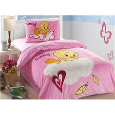 Cute Tweety Pink Background 100% Cotton Kids Bedding Sets Kids Bedding Sets, Tweety, Toddler Bed, Bed Sets, Beds, Cute, Pink, Bedrooms, Cotton