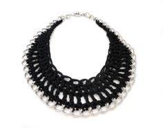 Black Crochet Chain Bib Necklace by ChichiKnots on Etsy, $33.00
