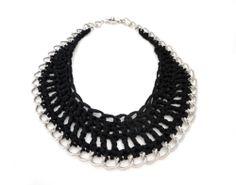 Black Crochet Chain Bib Necklace by ChichiKnots on Etsy, $33.00