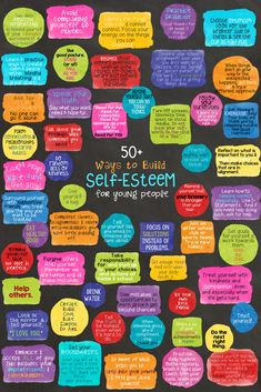 Self Love Quote Discover SELF-ESTEEM: School Counseling Game & Lesson 50 Ways to Build Self-Esteem! Ways to Build Self-Esteem for kids and teens. Poster school counseling lesson and fortune teller activity. Self Esteem Activities, Counseling Activities, Therapy Activities, Counseling Posters, Self Esteem Worksheets, Feelings Activities, Health Activities, Coping Skills, Social Skills