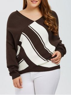 Color Block Plus Size V Neck Sweater - COFFEE   Type: Pullovers   Material: Polyester   Sleeves Length: Full   Collar: V-Collar   Style: Fashion   Season: Fall,Spring   Pattern Type: Others   Weight: 0.384kg   Package: 1 x Sweater   Plus size women's clothing | Plus size clothing | Plus size dresses | Plus size fashion -  women fashion | womens clothing