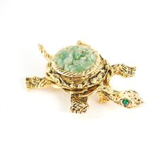 CIJ Sale- Vintage Brooch Pin, Green Jade Turtle Brooch, Gold Turtle Brooch, Sea Turtle, Figural Brooch, Animal Jewelry, 1970s Jewelry by AVintageJewelryChest, $22.00