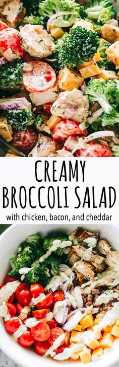 Creamy Broccoli Salad Recipe – Simple, easy, and delicious broccoli salad loaded with cheese, chicken, and bacon tossed with a creamy and flavor packed dressing. It is the perfect side to bring to a picnic or a potluck. #broccolisalad #potluck #diethood