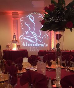 """""""As we celebrate tonite in Beautiful Burgundy & Gold. We welcome all 250 guest to Alondra Beauty & The Beast themed Quinces .... Be Our Guest , Been our guest, Put our Service to the test. #miamievents #homestead #southmiami #princessballrooms #palmettobay #events #miamievents #southmiami #richmondhieghts #quinces #parties #eventplanner #eventvenue"""" by @princessballrooms"""