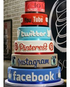 Social Media Cake 2 #facebook #twitter #cake #wedding #instagram  share @nytimes @naturalhandcraftedsoapcompany @cntraveler @kimkardashian @justinablakeney @youtube @pinterest