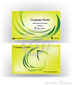 Business #card with #swirl logo #symbol made of #leaf and #herbs, on shiny #yellow background