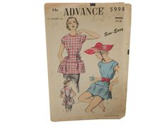 50s -Advance Pattern No. 5998- Sewing pattern for cobblers apron or beach poncho. Suggested fabrics for apron: cotton plaid, calico or gingh...