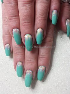 Mint of spring gelish gel polish with freehand nail art