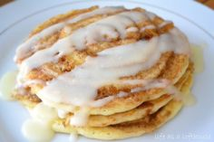 Cinnamon Roll Pancakes. We cooked this and loved it! My one year old and boyfriend ask for it weekly.