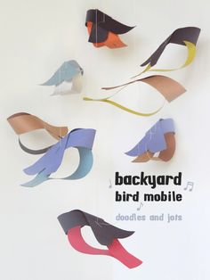 Easy construction paper backyard bird mobile craft with video tutorial
