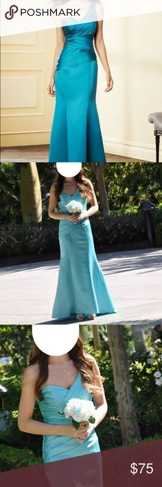 "Alfred Angelo ""Pool"" long bridesmaids dress Alfred Angelo bridesmaids dress for sale! Size: 6 Color: Pool (it's the closest color to ""Tiffany blue"" available) Style: long, one shoulder with small train. Beautiful and flattering dress. Needs a steam to get out wrinkles but other than that the dress is in perfect condition. Worn once at a Disneyland wedding, so we were in a hotel for 99% of the wedding. With Alfred Angelo out of business this dress won't last long! Pictures are of me in the…"