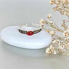 Shop unique handmade goods from OneYellowButterflyy. Toe Band, Silver Toe Rings, Ethical Fashion, Artisan, Stone, Tableware, Red, Handmade, Rock