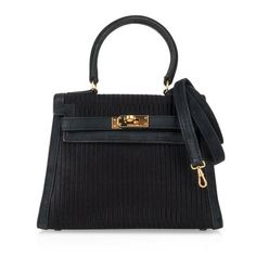 Guaranteed authentic Hermes Kelly 20 Black Vintage bag features pleated silk and gold hardware.The body. Hermes Kelly Bag, Hermes Bags, Gold Bodies, Bag Sale, Gold Hardware, Vintage Bag, Silk, Purses, Black