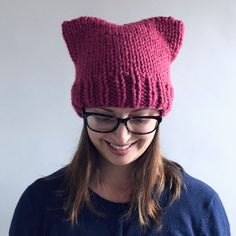 Ravelry: Super Cat Hat pattern by Destiny Meyer, Free Pattern Super Bulky wpi) ? 9 stitches and 13 rows = 4 inches in Stockinette US 15 - mm 60 yards m) Sizes available: Child [Adult] Hat Patterns To Sew, Knitting Patterns Free, Free Knitting, Free Pattern, Crochet Pattern, Bonnet Crochet, Crochet Hats, Knit Hats, Free Crochet