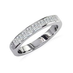 SuperJeweler 1/2ct Princess Diamond Anniversary Ring in 14k White Gold $499.99