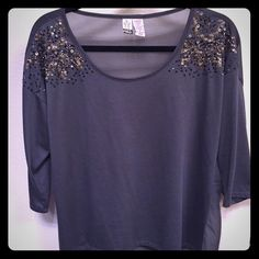 """Sequin detail """"Love on a Hanger"""" shirt size M Adorable quarter sleeve shirt with sheer back and sequin detail. Bought at Nordstrom """"Love on a Hanger"""" brand size M. love on a hanger Tops Blouses"""