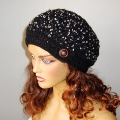 Woman Hat Knit Winter Beanie Women Black Beret Knit by RoseAndKnit Hand Crochet, Hand Knitting, Girl Beanie, Beanie Hats, Buy Clothes Online, Shops, Unique Gifts For Women, Pretty And Cute, Tejidos