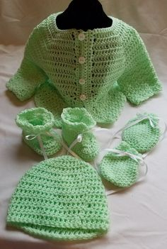Infant Green Sweater Set with Hat, Mittens and Booties