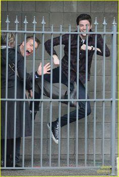 Grant Gustin and Rick Cosnett on Flash set