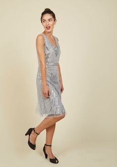 All the More Allure Sheath Dress. You thought you'd seen the ideal party dress before, but this silver sheath's utter perfection raises the bar for brilliant fashions! #grey #modcloth