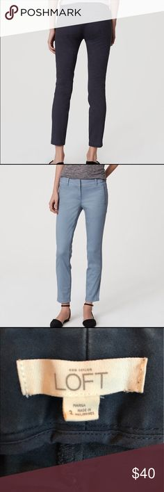 Loft Marisa Sateen Chinos - Size 2, Slate Blue Ankle-length Loft 'Marisa' sateen chinos. Beautiful pocket details with hidden zipper, comfy, and a bit of stretch. Size 2. 72% cotton, 24% rayon, 4% spandex. Tuxedo-style seams down the outside of each leg. Color is a dark slate-blue - difficult to catch on camera, but beautiful. (Note that the photo of model from behind is the actual color, and the model wearing light blue is just to show pant style.) Great for work w/ a blazer, or w/ sneakers…