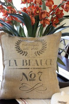 Vintage French Reproduction Grain sack Pillow