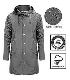 b3caab20853f bosbary Men Raincoats Waterproof Lightweight Active Long Outdoor Hooded  Rain Jacket for Men