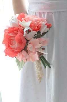 Paper peony, paper flowers, 2013 trends, eco freindly, paper bouquet, Coral paper flowers. $97.00, via Etsy.