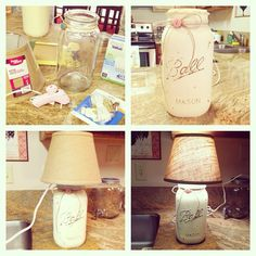 Mason jar lamp I made from a gallon sized mason jar from Walmart