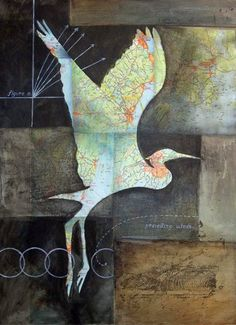 "Featured Artist Maya Kuvaja ""Flight Path"" by artist Maya Kuvaja. This Maine-based artist addressed the clash of nature, culture and science in her collage work. Collage Kunst, Collage Art, Collages, Art Carte, Maya, Nature Drawing, Encaustic Art, Mix Media, Mixed Media Collage"