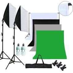Systeme-darriere-plan-Fotostudioset-Lampe-de-studio-4xHintergrundstoff