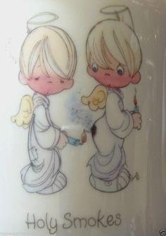 Precious Moments cup angels white 1985 vintage Enesco mug Samuel Butcher