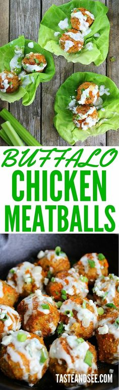 Buffalo Chicken Meatballs with Blue Cheese Sauce! With garlic, onions, celery, parsley, & a little spicy cayenne. Cooked in homemade Buffalo Sauce & finished with a fresh yogurt-based Blue Cheese Sauce! http://tasteandsee.com