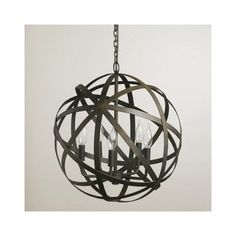 ORB CHANDELIER Industrial Vintage Rustic Black Metal Round Hanging Light Sphere