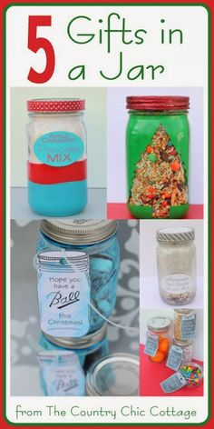 5 Mason Jar Gifts and a Ball Brand Contest ~ * THE COUNTRY CHIC COTTAGE (DIY, Home Decor, Crafts, Farmhouse)