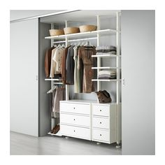 IKEA - ELVARLI, 3 sections, You can always adapt or complete this open storage solution as needed. Maybe the combination we've suggested is perfect for you, or you can easily create your own.You can combine open and closed storage - shelves for your favorite things and drawers for the things you want to store away.Adjustable shelves and clothes rails make it easy for you to customize the space according to your needs.You choose if you want to place the open storage solution against a wall or…