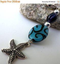 Purse zipper pull starfish charm with large by CarolJoyFashions