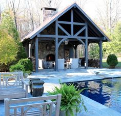Custom designed pavilions offer a perfect backyard getaway. Call or visit today to plan yours! Timber Frame Homes, Timber Frames, Exposed Rafters, Gazebo, Pergola, Pool Lounge, Old Houses, Farm Houses, Home Builders