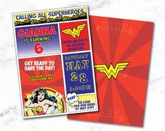 Wonder Woman Invitation- Printable PDF- Justice League- Birthday- Invite- Kids- Party- Superhero- Superman- Supergirl- Batman- Comic- Book- by SageMaxwell on Etsy https://www.etsy.com/listing/463463139/wonder-woman-invitation-printable-pdf