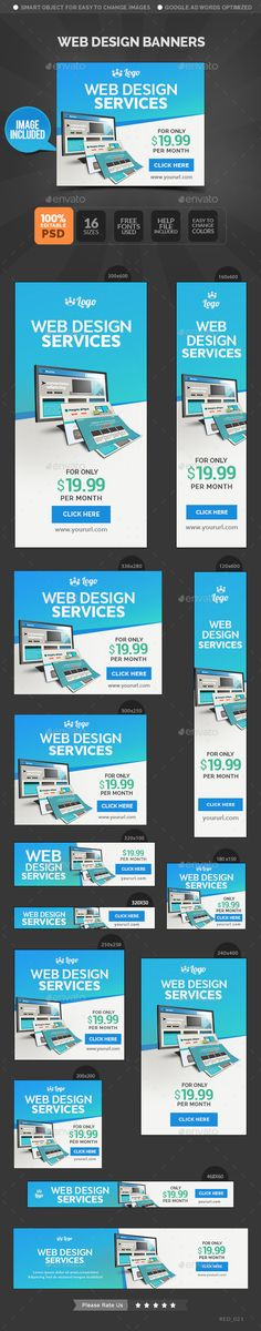 Buy Web Design Banners by Hyov on GraphicRiver. Promote your Products and services related to Web Design niche with this great looking Banner Set. Design Web, Web Banner Design, Web Design Services, Web Banners, Google Banner, Rollup Banner, Sale Banner, Banner Template, Design Reference
