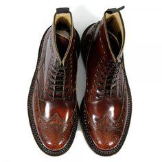 Grenson Triple Welt Mahogany Leather Boot | Brogue Boots