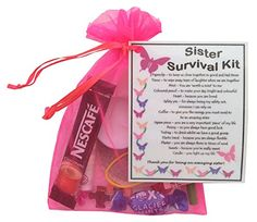 Sister Survival Kit Gift (Great present for Birthday, Christmas or just because...)