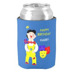 A fun and colorful personalized birthday drinks cooler with a jolly circus clown, so cute and a favorite with young boys and girls alike; just customize it with your child's details or text of your choice.