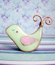 Kawaii Bird Brooch of  Green mint Polymer clay and by CloverPowers