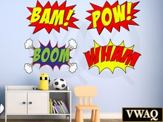 Pack Of 4 Comic Book Wall Decals Bam! Pow! Boom Wham The dimensions listed are of each individual decal. These peel and stick wall decals are printed in high resolution and is easily removable. Item c