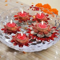 DreamStream, Five Designer Stone Work Floating Diyas. Explore more on Sameera's Exquisite Designs of… Diwali Decorations, Christmas Decorations, Diwali Diy, Diwali Celebration, Sikh Wedding, Stone Work, Candlesticks, Birthday Candles, Projects To Try